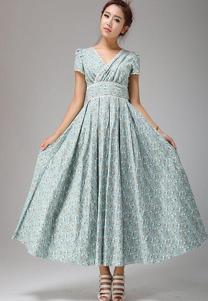 Linen Dress Floral Maxi dress - Soft Duck Egg wedding dress Flower ...