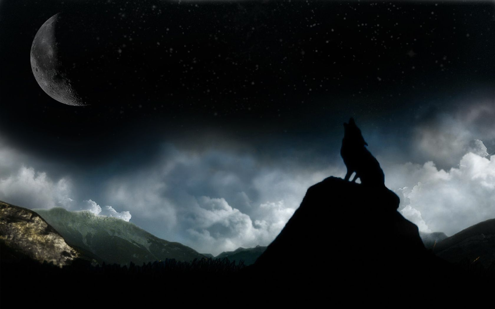 fire horse howling moon dark night sky wolf wolves your top hd
