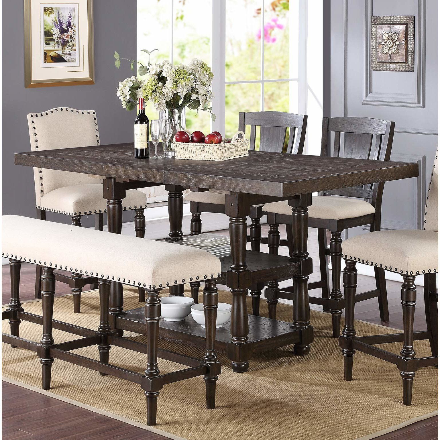 Fortunat Counter Height Extendable Dining Table Tall Dining