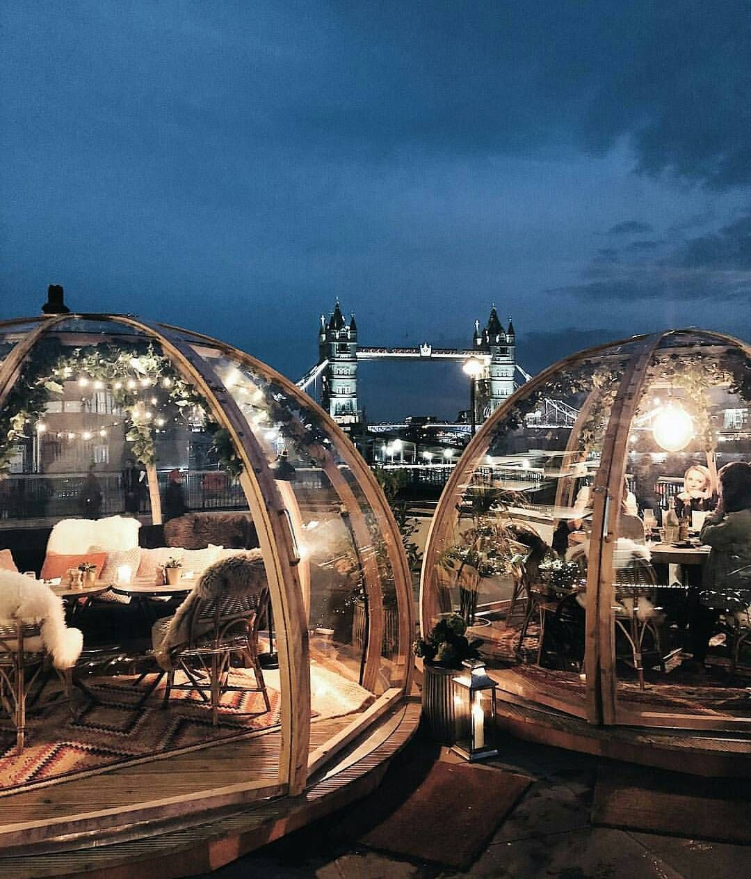 """4,430 Likes, 110 Comments - AFAR (@afarmedia) on Instagram: """"Wouldn't you love to see the lights of London from your own cozy igloo at Coppa Club? We certainly…"""""""