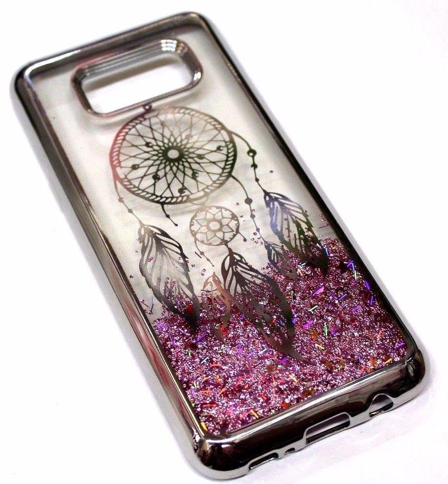For samsung galaxy s8 silver dream catcher pink glitter