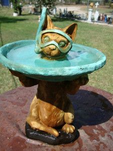 Little Snorkel Cat Garden Kitty Bird Bath Statue Cement Concrete