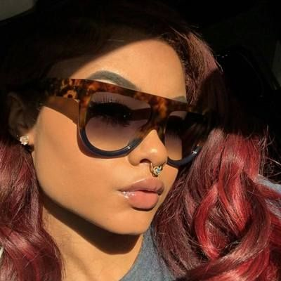 cea1848bd198 Shadow sunglasses flat top tortoise and blue Sunglasses Women Designer  Celine Dior Oversized Chic Fashion India love Rihanna Inspired