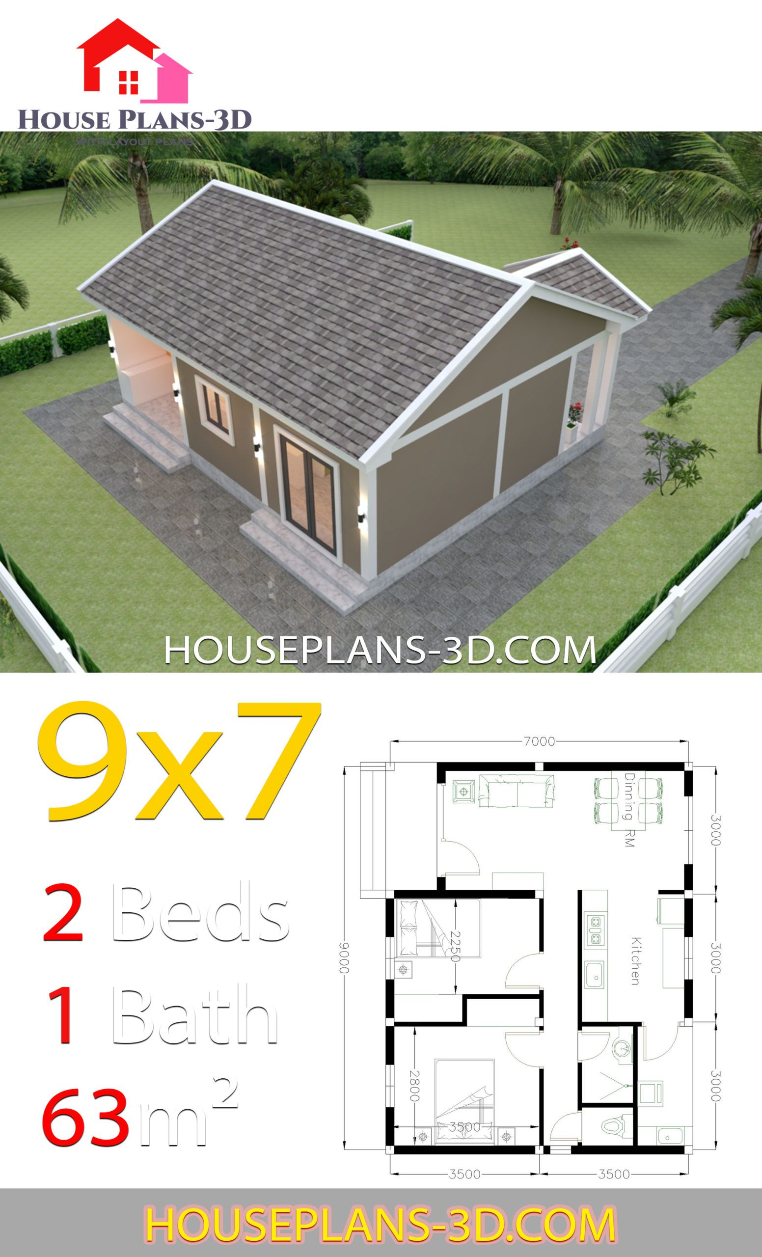 House Plans 9x7 With 2 Bedrooms Gable Roof House Plans 3d House Plan Gallery Small House Design Plans House Layouts