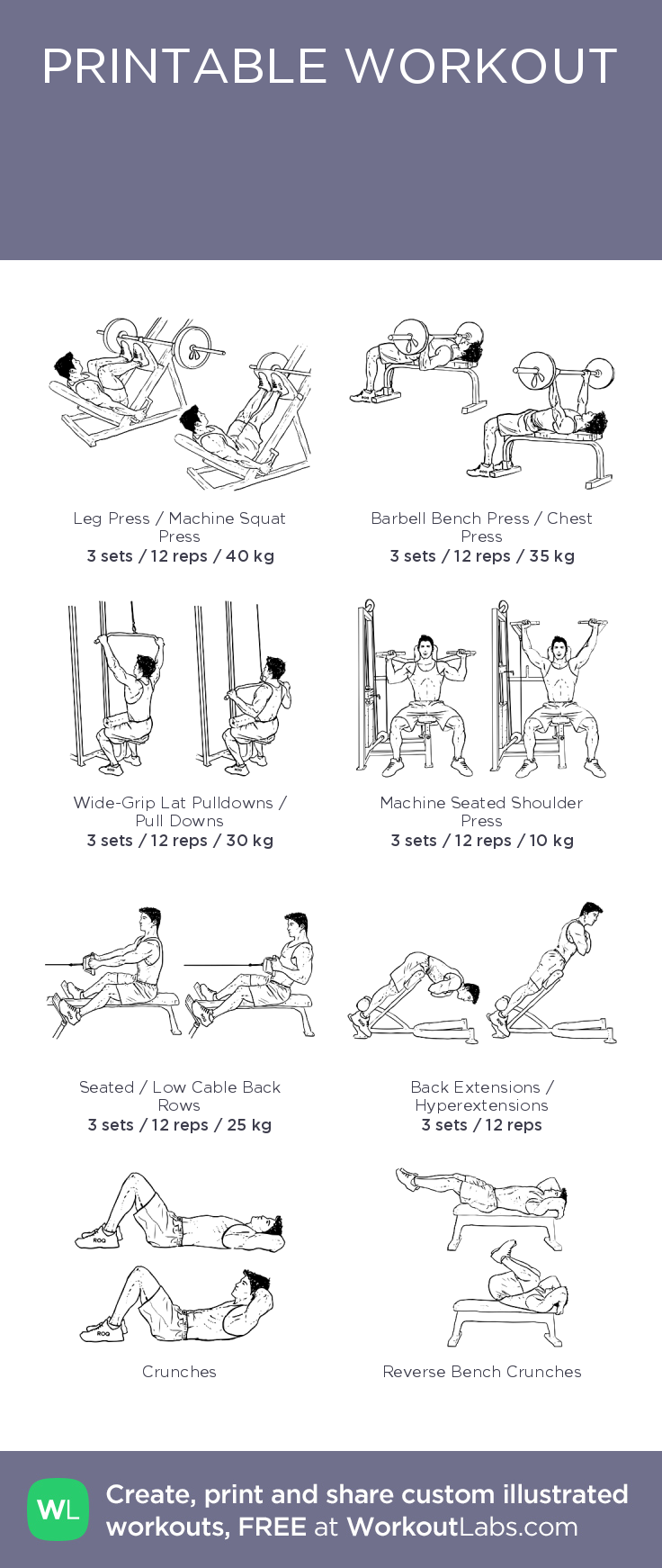Ознайомче тренування –illustrated exercise plan created at WorkoutLabs.com • Click for a printable PDF and to build your own #customworkout