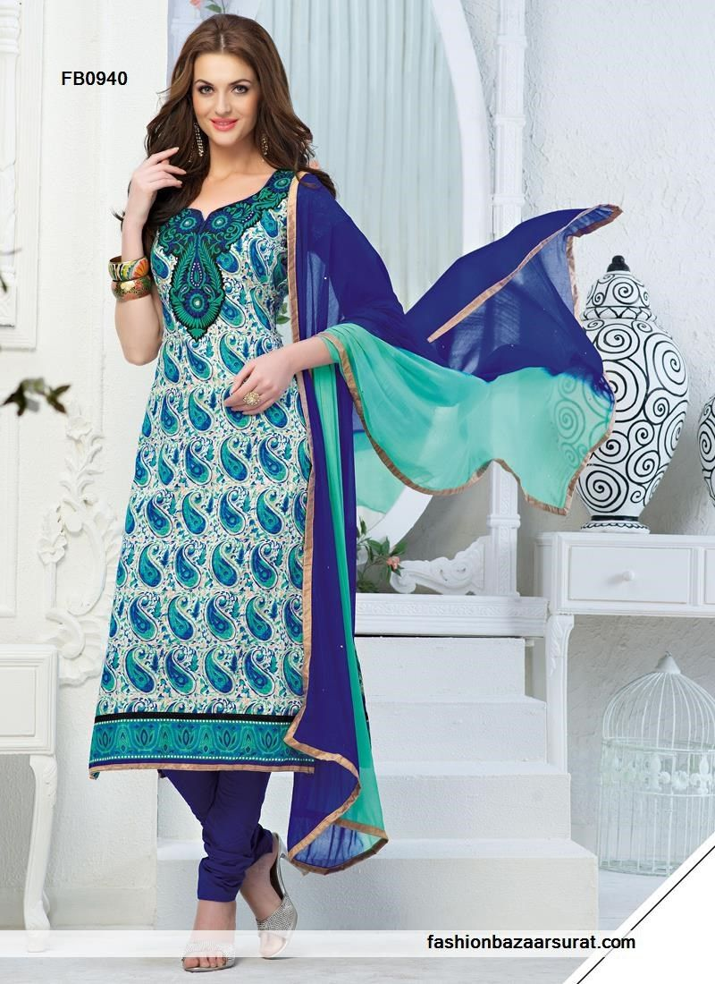 Blue Cotton Embroidery Work Churidar Suit