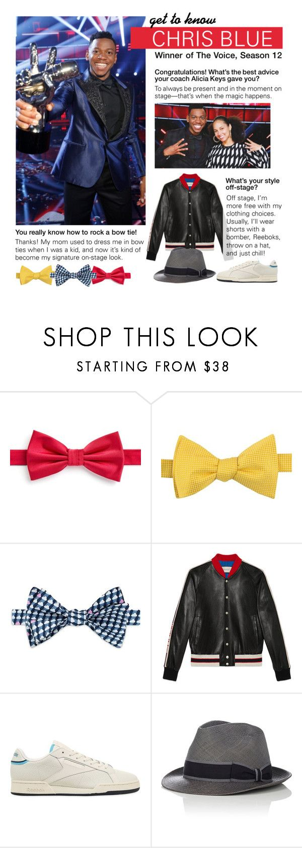 """""""Get to Know: Chris Blue"""" by polyvore-editorial ❤ liked on Polyvore featuring Paul Costelloe, Tommy Hilfiger, Thomas Pink, Gucci, Reebok, Barbisio, thevoice, gettoknow and ChrisBlue"""