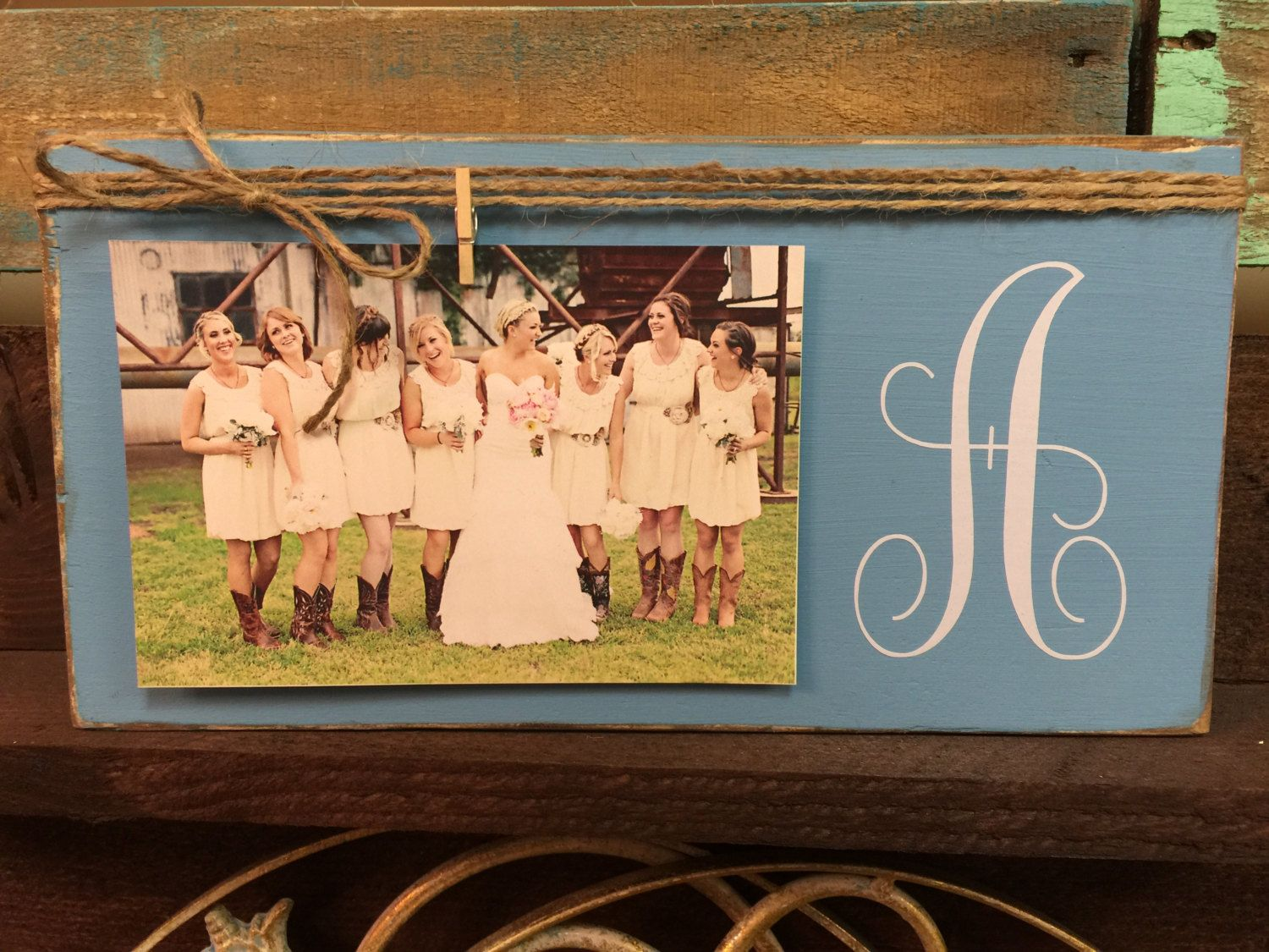 Initial Monogram Picture Frame, Wedding Picture Frame, Rustic ...