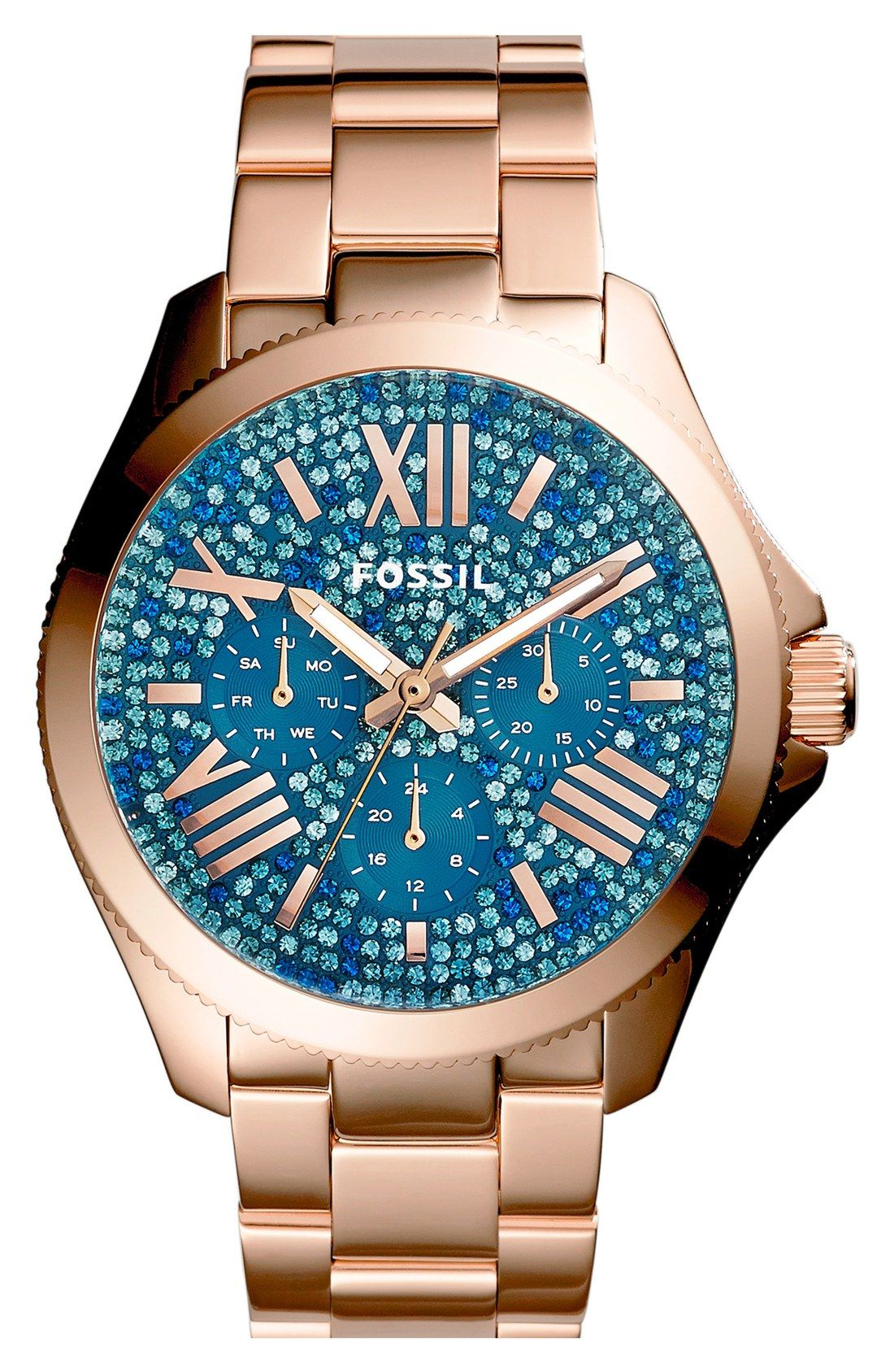 Gorgeous watch face on this gold Fossil  | Accessorize