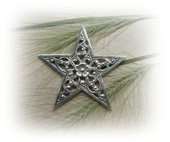 1   FILIGREE STAR Antique Silver Ox Brass by BirdysDesignGallery, $2.95