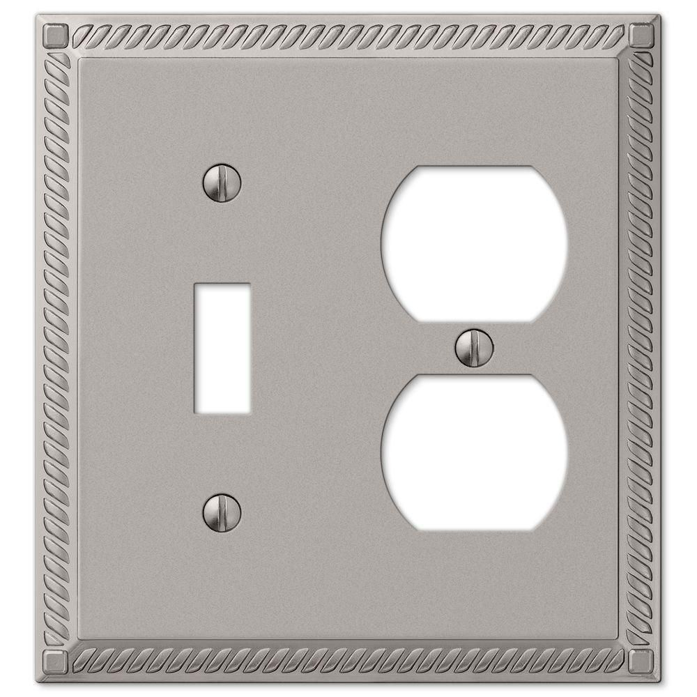 Amerelle Georgian Cast 1 Toggle And 1 Duplex Wall Plate Satin Nickel 54tdn Plates On Wall Franklin Brass Wall Switch Plates