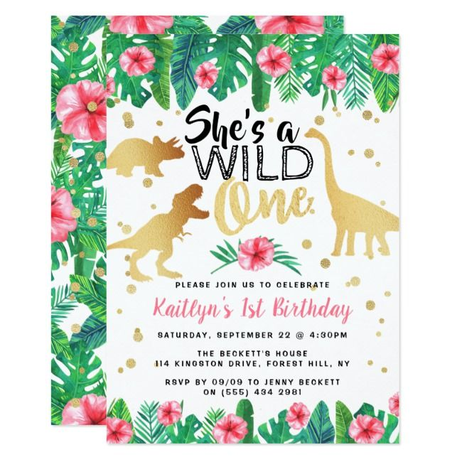 Wild One Dinosaur Girls 1st Birthday Invitation | Zazzle.com #safaribirthdayparty