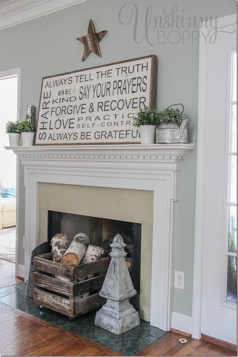 Family Rules Sign On A Late Summer Mantel