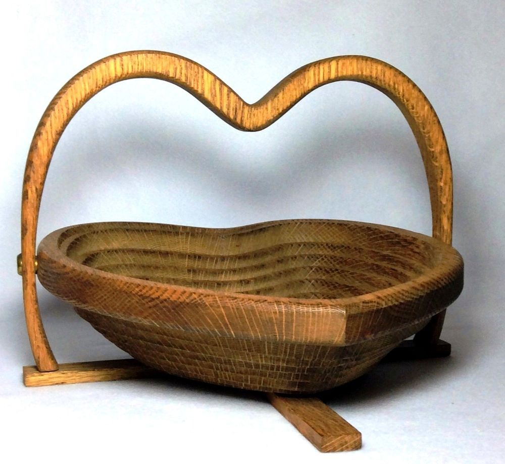 Handcrafted Collapsible Wooden Bowl Basket Unique Oak Wood