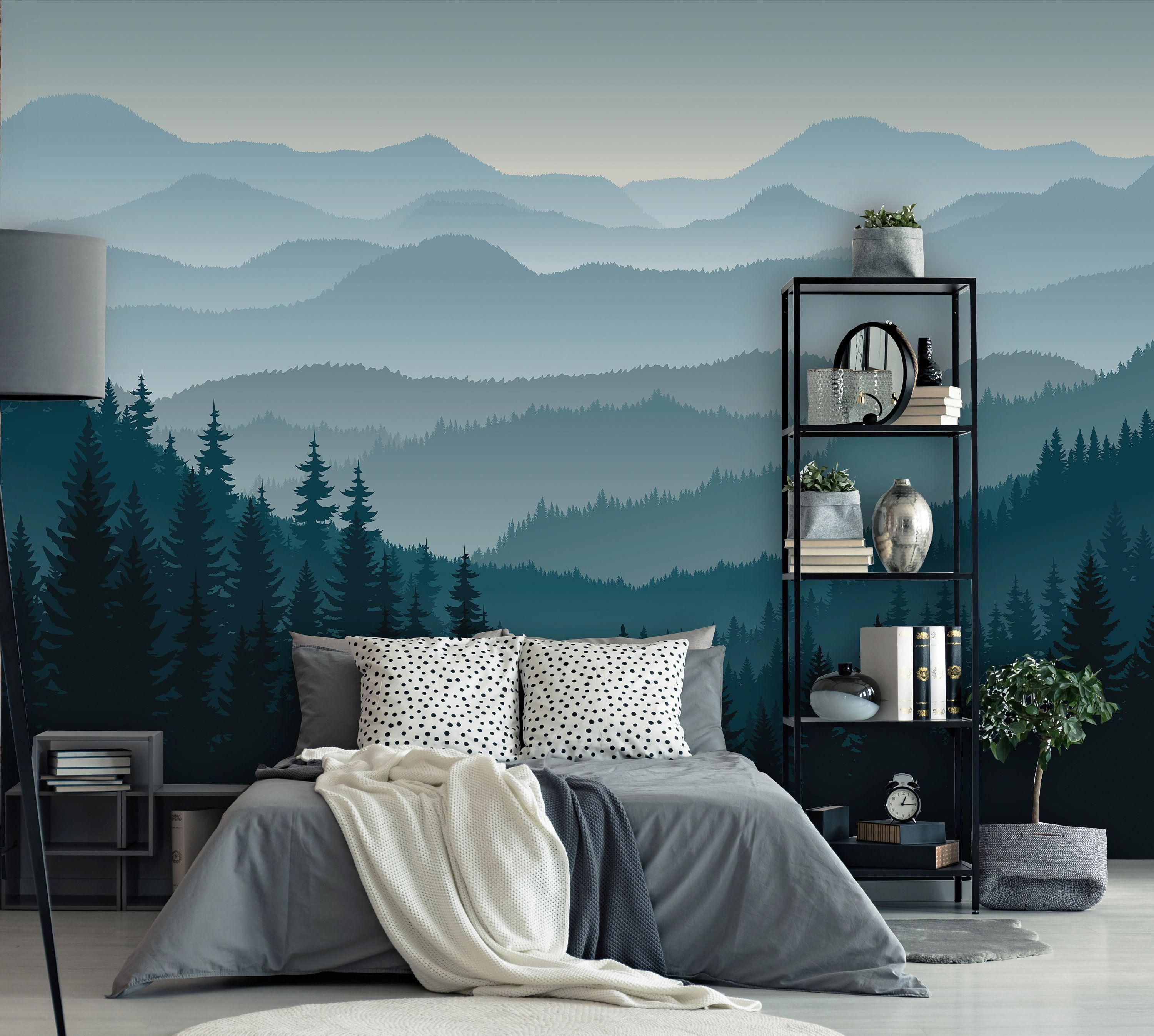 Removable Peel N Stick Wallpaper Self Adhesive Wall Etsy Bedroom Murals Wall Decor Bedroom Mountain Mural