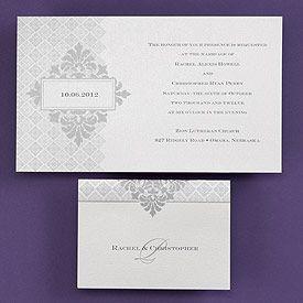 pearlescent non folding invitation with silver design a silver