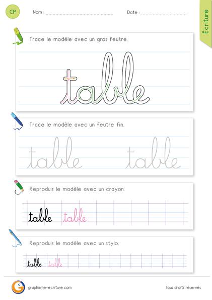 Exercice fiche graphisme criture cp ce1 crire le mot for Comment apprendre les tables