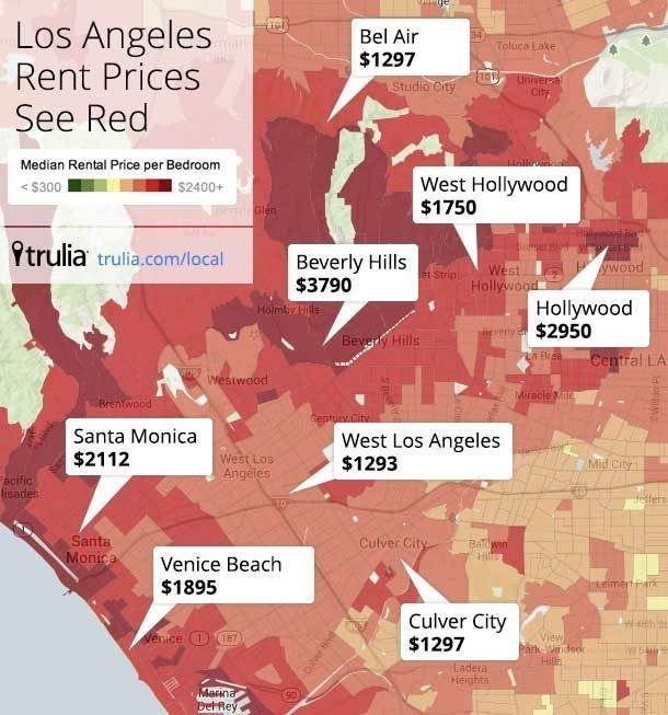 The Los Angeles Rental Price Heatmap Is Almost All Red Apartment Hunting Los Angeles Los Angeles California Apartments