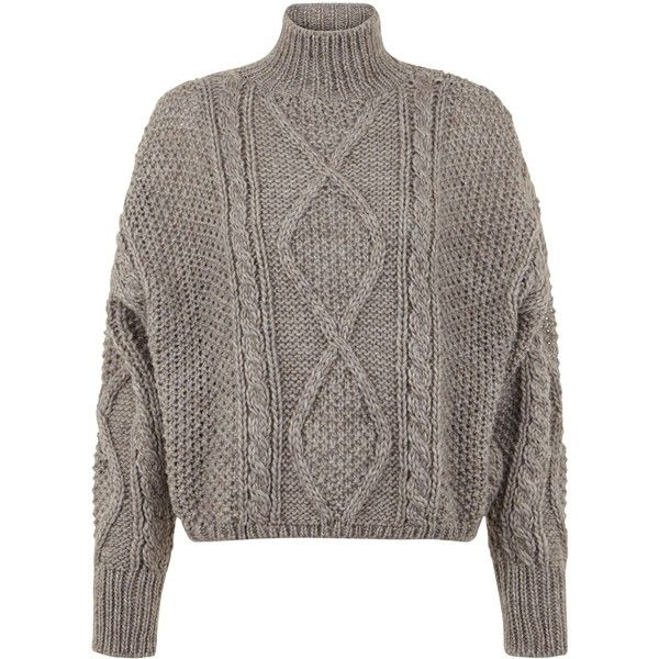 Light Brown Premium Chunky Cable Knit Cropped Jumper (£39) ❤ liked on  Polyvore 975ea995b
