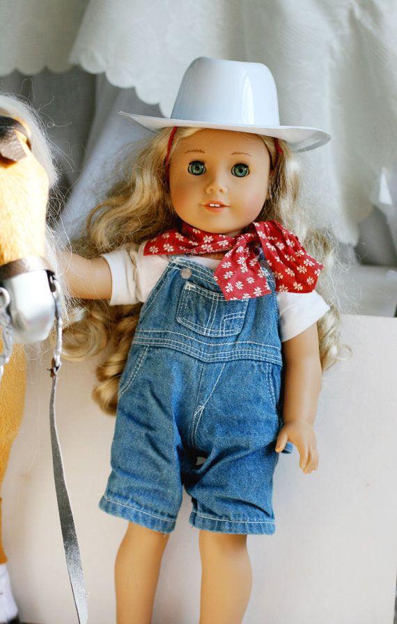 "Denim Blue Jeans Shortalls Overalls for 18/"" American Girl Doll Clothes LOVV"