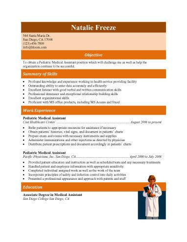 Experienced Pediatric Medical Assistant Resume styles I like