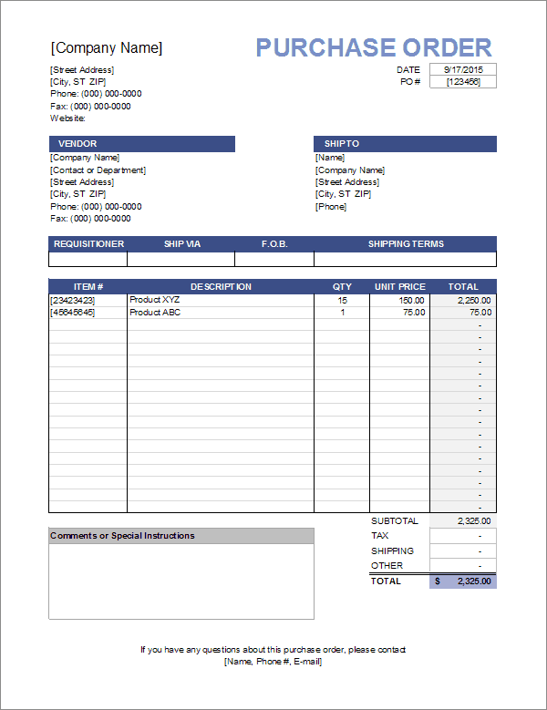 download the purchase order template from vertex42 com