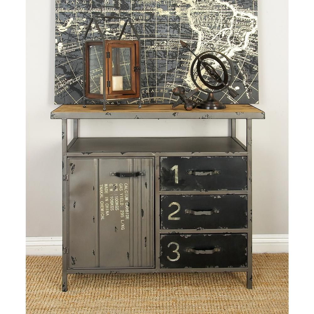 Null Gray Industrial Metal And Wood Utility Cabinet