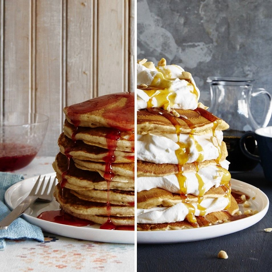REAL DEAL | Buttermilk pancakes (shown left) get a pop of color and tang from a cranberry-laced syrup. RAZZLE DAZZLE | Billows of bourbon cream elevate this breakfast version of a classic cake.