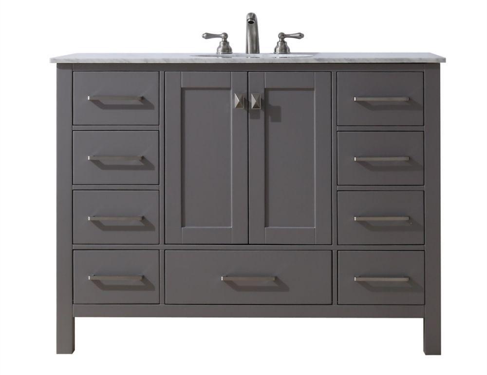 48 Inch Malibu Grey Single Sink Bathroom Vanity Single Sink
