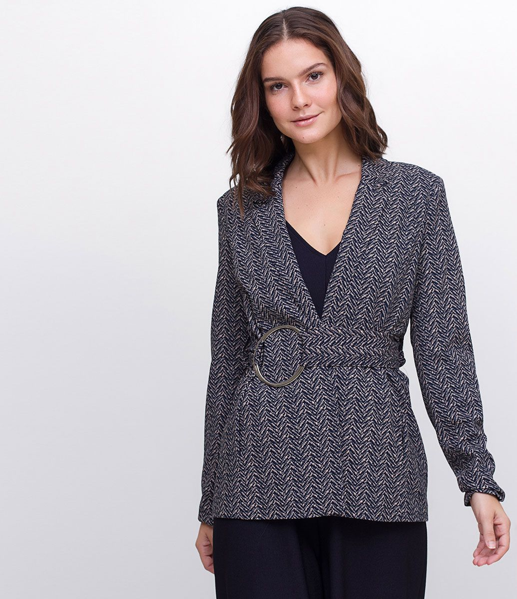f222989fa3 Blazer feminino Com faixa na cintura Estampa Geométrica Marca  Cortelle  Tecido  Crepe Modelo veste