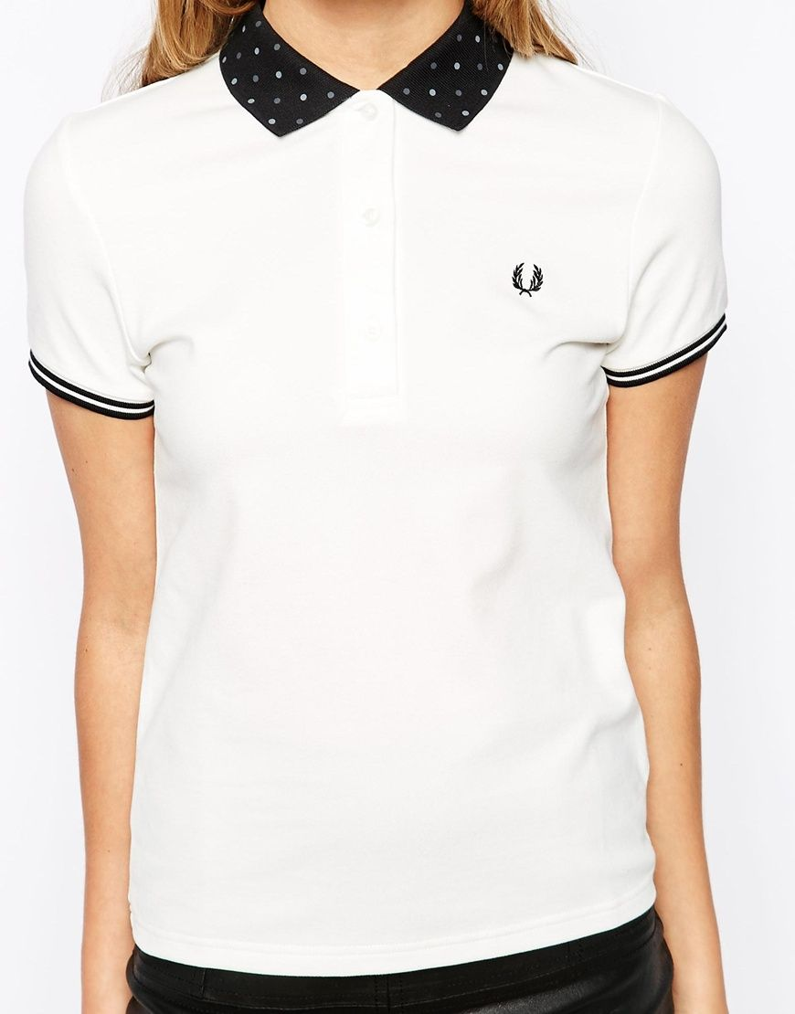 Image 3 of Fred Perry Polka Dot Collar Polo Shirt  09e1b126eacbc