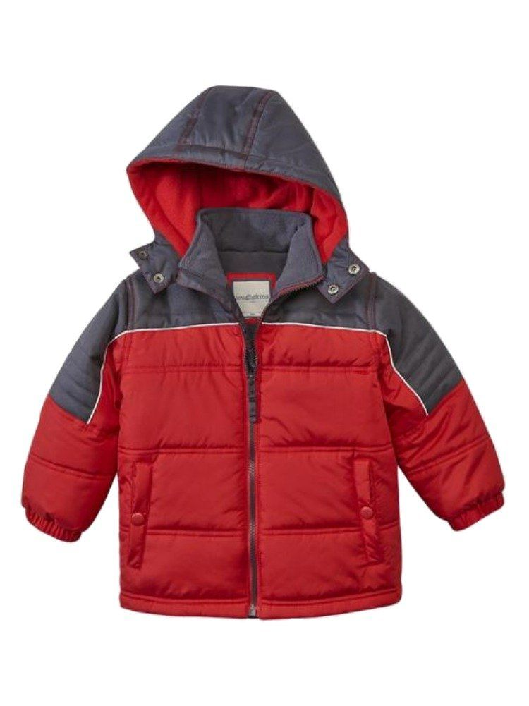 3bce666eb Toughskins Coat Toddler Boys Red   Gray Hooded Insulated Puffer ...
