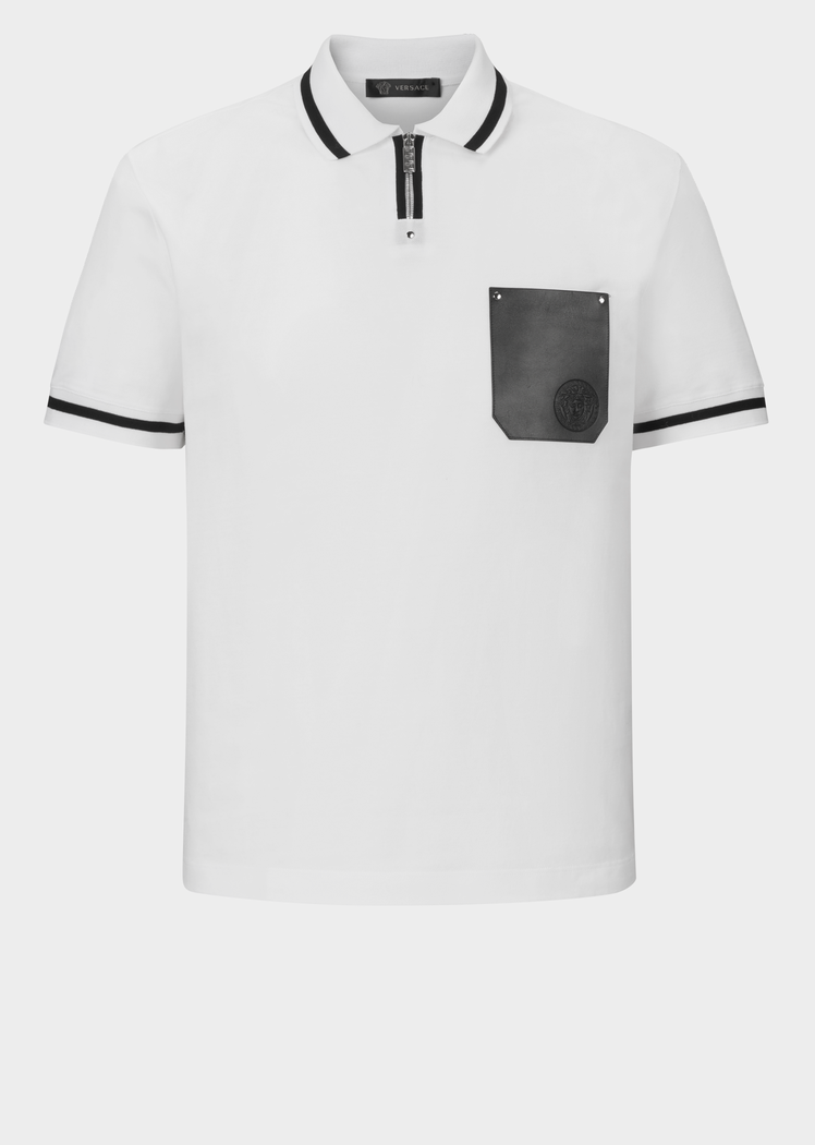 46d3276b Versace Jacquard Collar Polo Shirt for Men | Official Website. Jacquard  collar polo shirt withzip on the neck line, leather pockets and Medusa logo.
