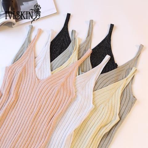 9e786bb23b457 Gold Thread Crop Tops Women 2018 Knitted Tank Tops Sexy Top Vest Summer  Camisole Women White