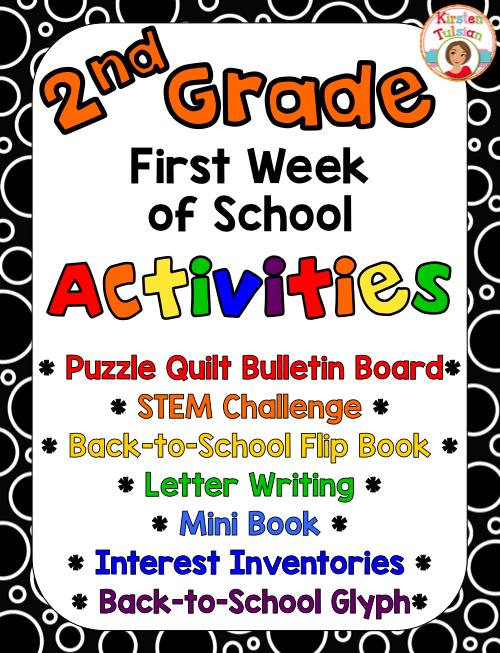 first week of school activities for 2nd grade kirsten s teachers