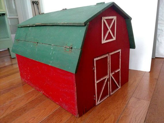 Vintage Wooden Barn Toy Box Etsy Toy Barn Wooden Barn Toy Boxes