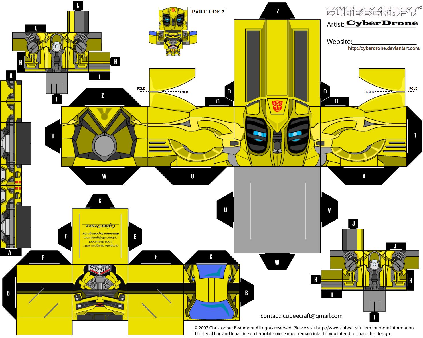 PaperCraft Transformer Papercraft Templates Kids
