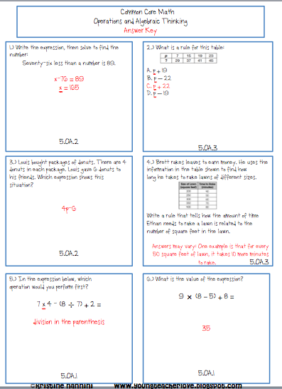 5th Grade Common Core Math Operations And Algebraic Expressions 102 Math Problems With Answer Keys Homework Or Mo Common Core Math Math Operations Math Review