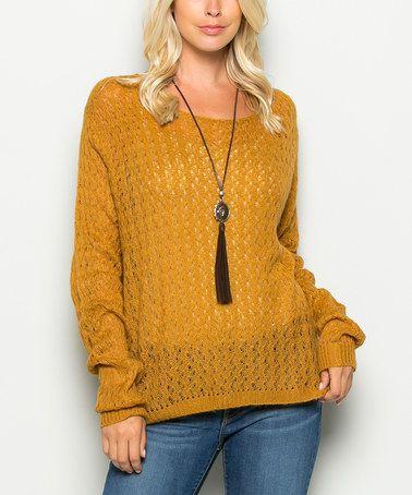 Another great find on #zulily! Mustard Textured Scoop Neck Sweater #zulilyfinds
