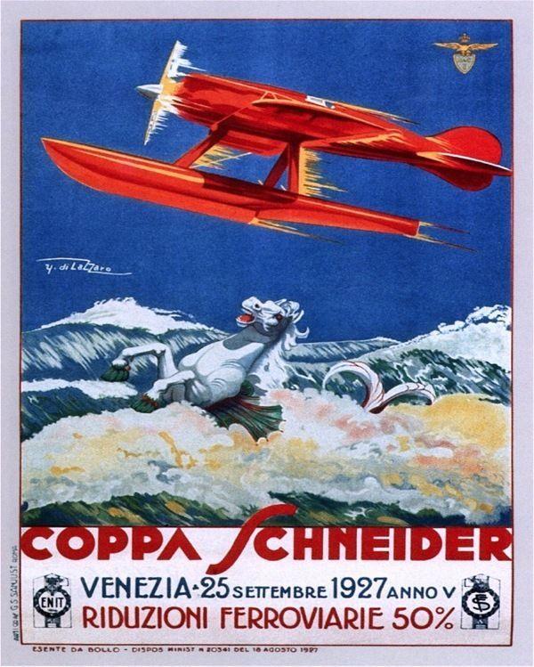 VINTAGE 1927 VENICE ITALY SEAPLANE AIR RACES SCHNEIDER TROPHY ADVERT POSTER
