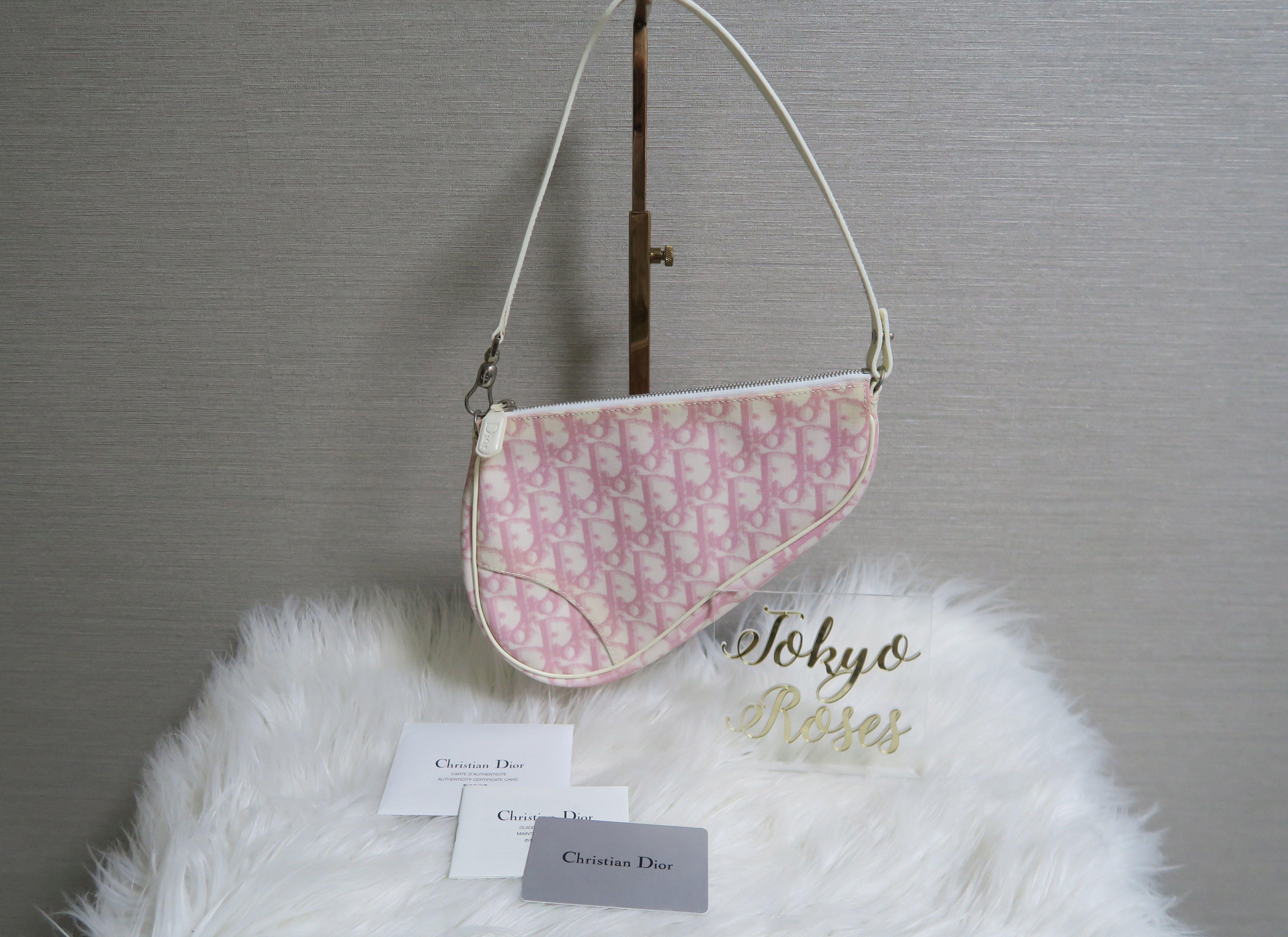 e00dd8be9dd Christian Dior Trotter Monogram Print Saddle Bag Pink & White Pqs ...