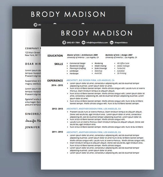 Creative Resume Template | CV + Cover Letter | Modern ...