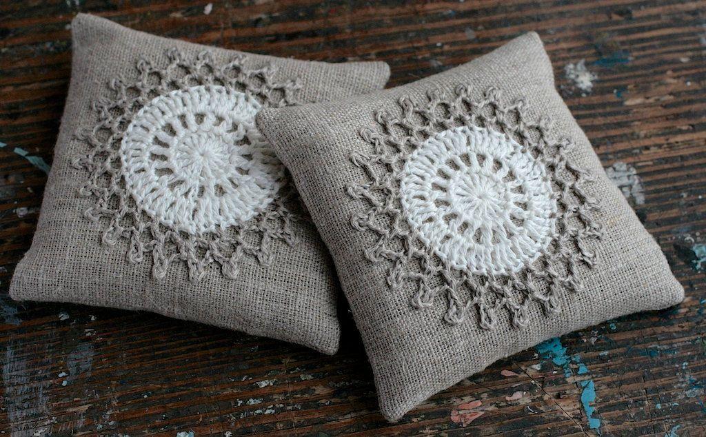 Lavender sachets crochet motif set of 2   Négyzet, kör, stb ...