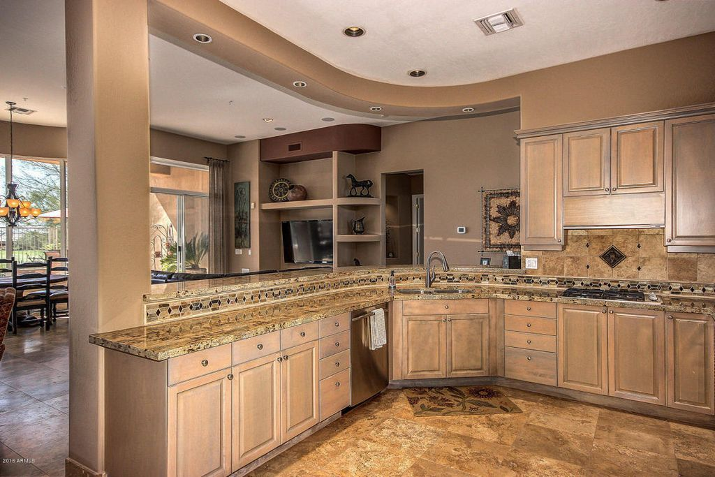 Contemporary Kitchen With Athens Raised Panel Cabinets, Inca Blend  Travertine Tile, Amber Yellow Granite Countertop