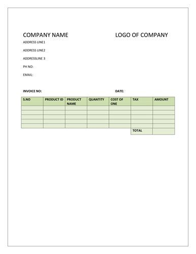Product Invoice Template for businesses operating in manufacturing - product invoice template