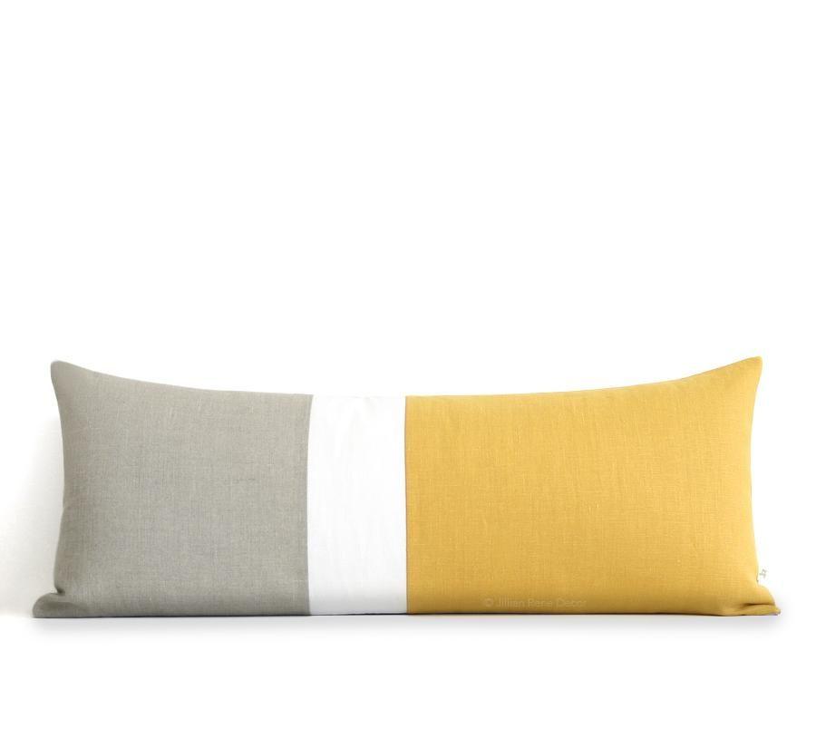 Extra Long Lumbar Colorblock Pillow 40x40 Squash Yellow In 40 Extraordinary Extra Long Decorative Lumbar Pillow