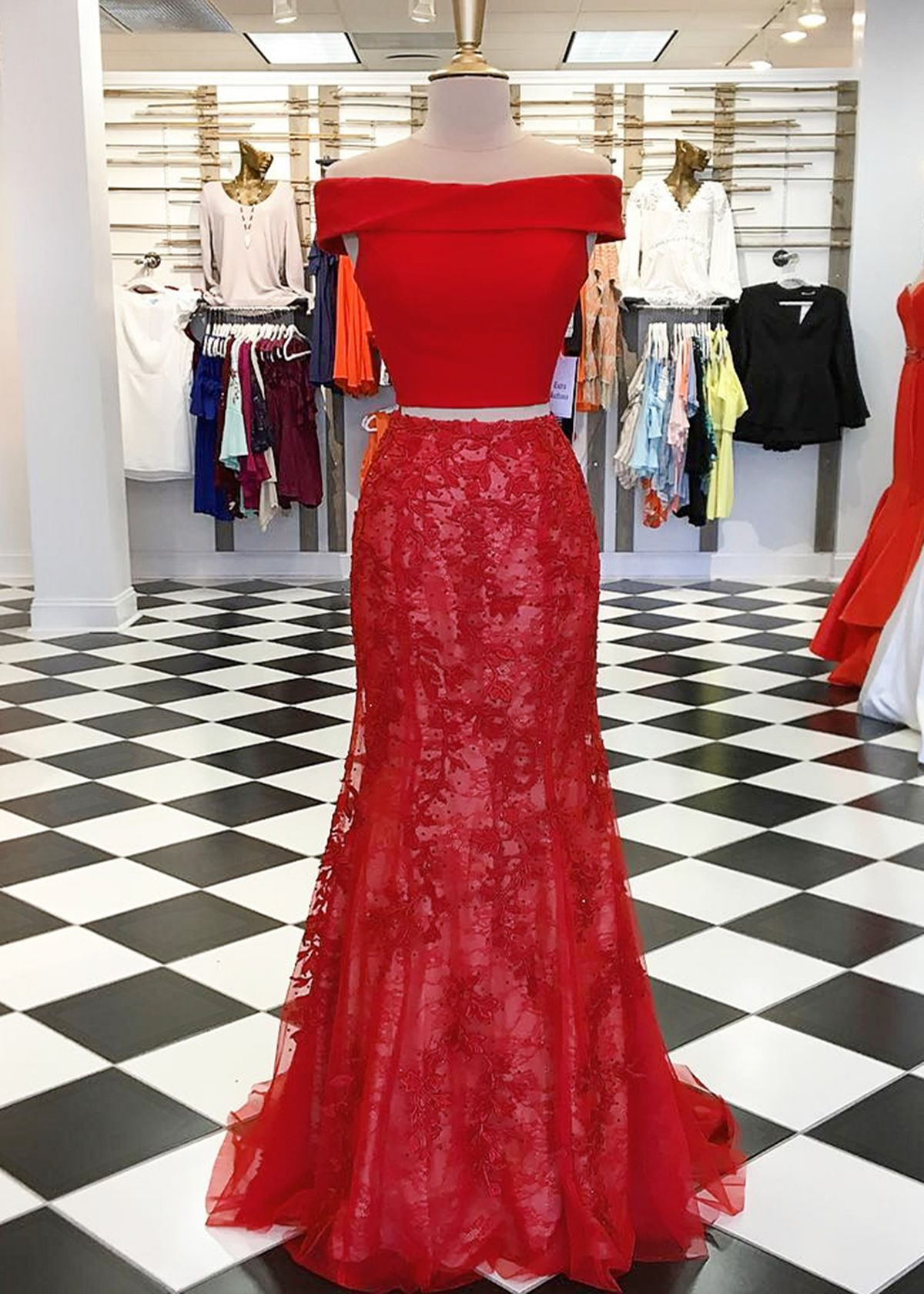 Red lace two pieces long mermaid homecoming dress long off shoulder