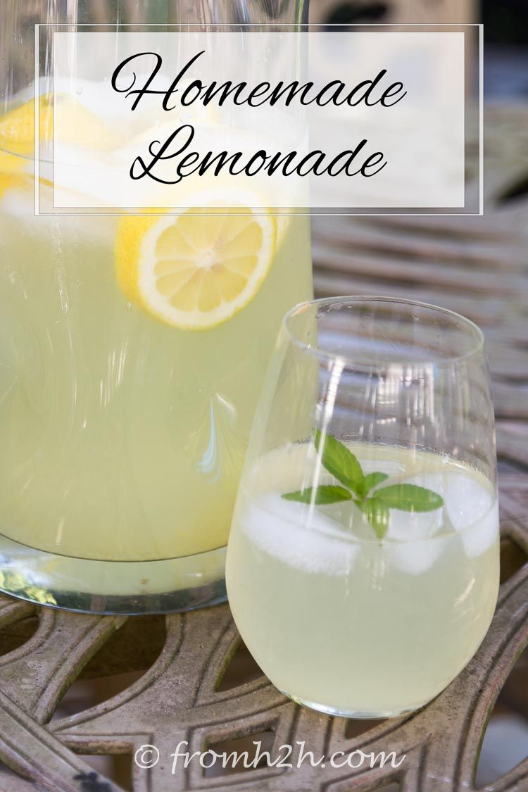 Homemade Lemonade   Looking for a homemade lemonade recipe that can be made ahead of time and stored? Check out this one that has both a sugar-based and a honey-based version.