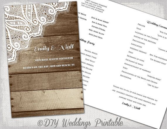 Rustic Wedding program Printable program template  - printable program templates