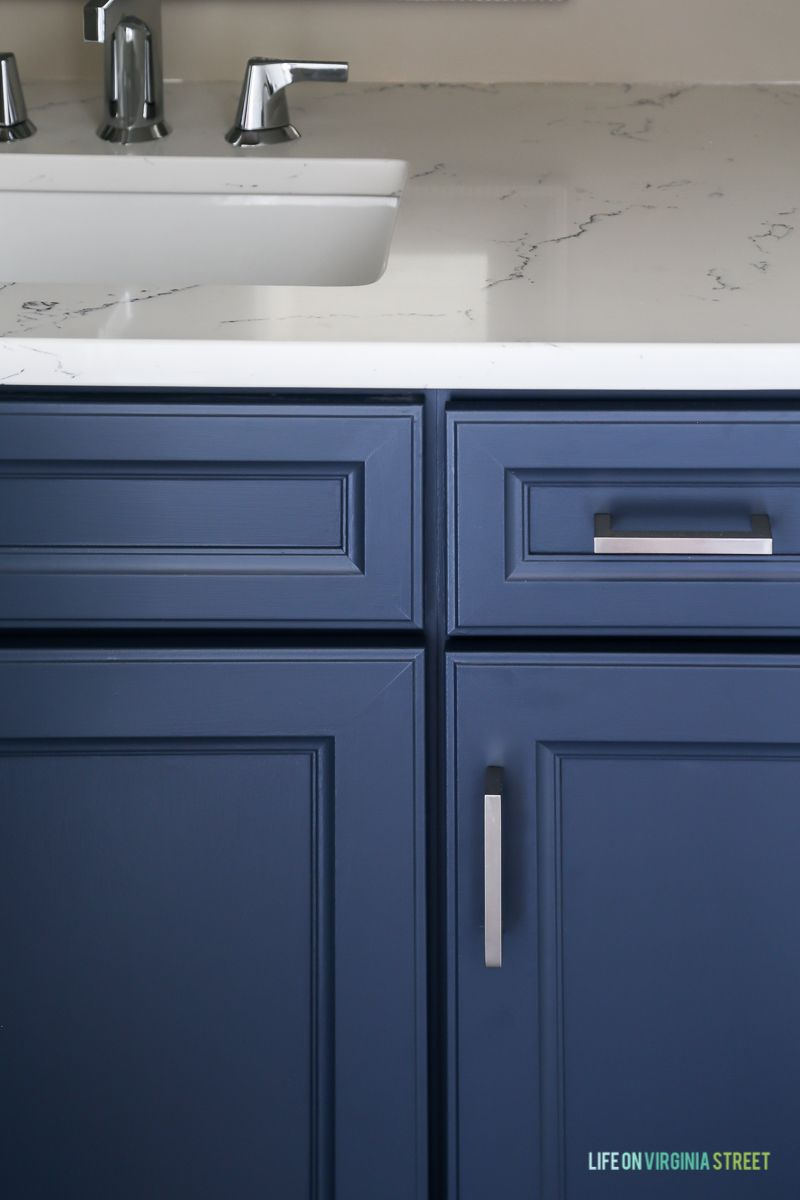 Powder Bathroom Renovation Reveal New Nautical And Navy Thermofoil Cabinets Blue Bathroom Navy Blue Bathrooms